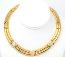 Vintage GIVENCHY Gold Tone, Rhinestone, Runway, Linked Collar Statement Necklace