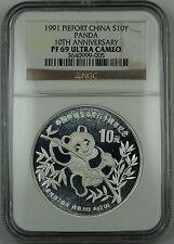 1991 China Silver 10 Yuan Panda 2 Oz Piefort 10th Anniv NGC PF-69 UC Proof Coin