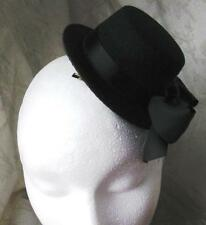 black mini top hat fascinator millinery burlesque wedding hen party fancy dress