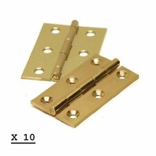 """10 PAIRS 3"""" 75mm BUTT DOOR HINGES POLISHED BRASS (20 HINGES) NEW"""