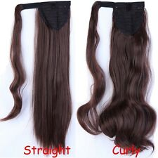 US Post Real Clip In 5% human Hair Extension Pony Tail Wrap Around Ponytail