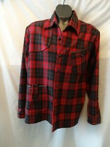 Mens Red Check Handmade Wool Shirt for HERITAGE RESEARCH Medium-Large
