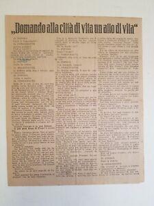 D'ANNUNZIO Gabriele: DOMANDO ALLA CITTà DI VITA UN ATTO..., volantino Fiume 1921