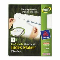 """Avery Eco-friendly Index Divider - Print-on - 5 Tab[s]/set - 8.50"""" X 11"""" - 25 /"""