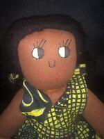 """Vintage Handmade Brown Skin Lulu 16"""" Doll"""