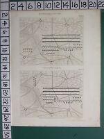 1808 Datato Antico Stampa ~Castrametation~ Esempi Di Camp