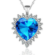 Women Blue Crystal  Heart Pendant 925 Sterling Silver  Necklace  Fashion Jewelry