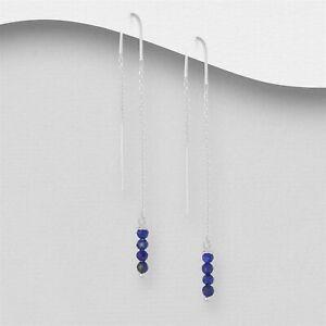 925 Sterling Silver Genuine 4 Lapis Lazuli Thread Through Earrings Threader