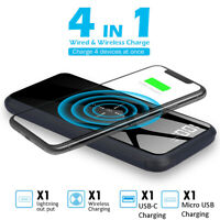 10000mAh Qi Wireless Charger Stand Power Bank USB LCD Type-C Portable Battery