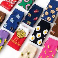 Women Men Socks Funny Cute Cartoon Fruits Cookie Donuts Food  Skateboard Socks