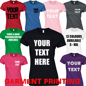 PERSONALISED LADIES T-SHIRT CUSTOM DESIGN YOUR TEXT PRINTED HEN DO WOMENS