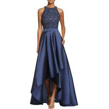 Adrianna Papell~ Navy Beaded Crop Top 2PC Taffeta Hi-Low Flare Gown 12 NEW $298
