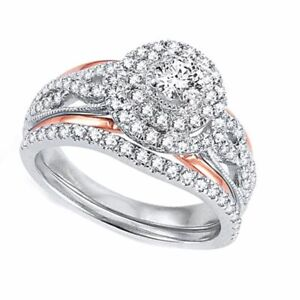 BRIDAL SET RING 1.50 CT TW ROUND CUT Simulated Diamond Solid 10K Two-Tone Gold