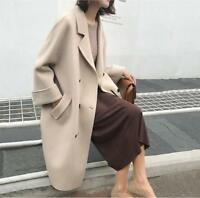 Womens Wool Blend Long Loose Coat Double Breasted Parka Outwear Casual Coats V19