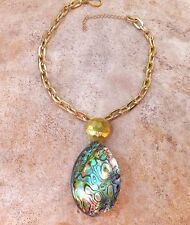 GENUINE ABALONE PUFFY PENDANT SEA OPAL NECKLACE BRUSHED GOLD JEWELRY BRIDAL
