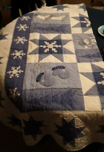 Blue And White Machine Stitched Winter Quilt