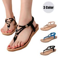 Women's Boho Sandals T-strap Flip Flop Casual Flats Thong Beach Open Toe Shoes