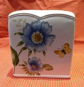 Lenox Flower Blue Floral Garden Butterfly Meadow Tissue Box holder cover sleeve