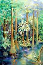 """Florida Cypress"" Original Acrylic Painting Canvas, 36""x 54"" Artist Signed"