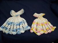 Set of Two Vintage Crocheted Barbie Doll Dresses
