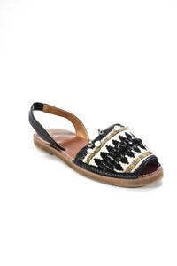 Barneys New York Womens Canvas Beaded Slingback Sandals White Black Size 38 8