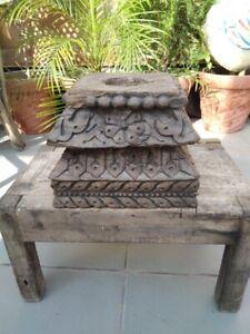 1700's Antique Wood Fine Carved Fine Floral Beautiful Pillar Base Bracket