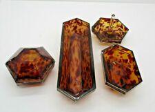 New ListingVintage Tortoise Glass Vanity Dresser Set Powder Ring Holder Tray Etc