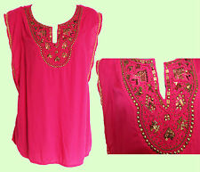 MONSOON Pink Sequin Embellished Casual Formal Holiday Party Top Kaftan MEDIUM