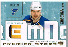 03-04 UD Premier Collection STARS PATCH xx/100 Made! Doug WEIGHT - Blues
