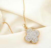 18K GOLD GF Swarovski Crystal 3CM Four Leaf Clover Long Necklace Sweater Chain