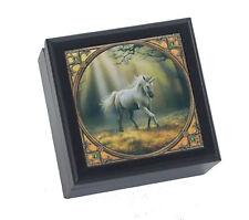 Anne Stokes Glimpse of a Unicorn Trinket Altar Jewelry Box Tile Top Black Wood