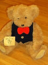 "1984 Bears By ""Jo"" Householter-18""H Jointed Teddy Bear-Crocheted Vest & Bow Tie!"