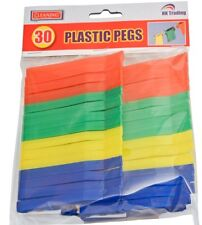 30 PLASTIC CLOTHES PEGS HIGH QUALITY COLOURED COIL BAG CLIPS WASHING LINE DRYING