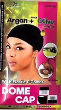 murray collection argan +black olive ultra stretchable spandex dome cap m4003blk