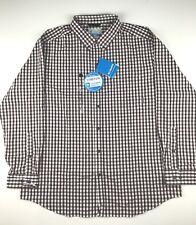 Columbia Mens XL River Ridge 1X Maroon White Plaid Long Sleeve Button Shirt $60