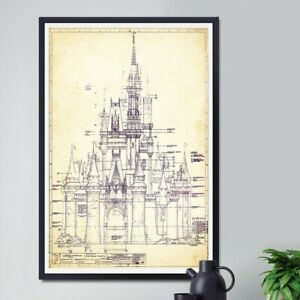 DISNEY WORLD Castle Blueprint POSTER! (up to 24 x 36) - Dated 1969 - Cinderella