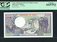 Chad / Tchad:P-7,1000 Francs,1980 * Water Buffalo * PCGS Gem UNC 66 PPQ *
