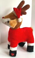 Vintage Christmas Rudolph Reindeer Musical Plush Light Up Nose 5 Tunes