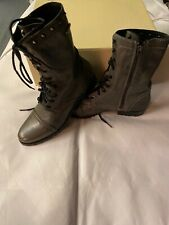 Diesel Grey Green Leather Boots Army Combat Mid SIDE ZIP Military UK 8 EU 41