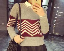 Comodo caldo maglione donna grigio rosso morbido misto lana 4265