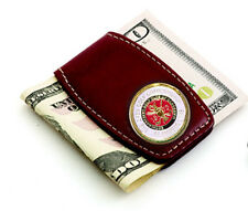 St Andrews 1873 Leather Money Clip - Brown Leather Wh & Red - Beautiful Gift