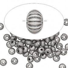 50 Antique Silver Plated Corrugated Rondelle Spacer Beads 4.5MM