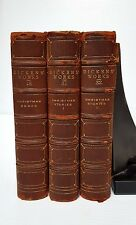 CHARLES DICKENS' WORKS. c1890's GADSHILL EDITION VOL 18, 31 & 32 HALF LEATHER