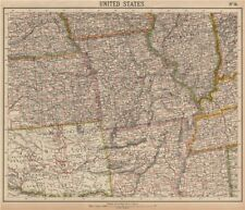 MISSOURI IL AR. INDIAN TERRITORY native American tribal reserves. LETTS 1889 map