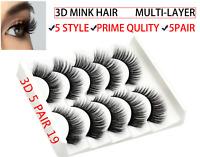 UK 5 Pairs Fake Eyelashes Long Thick Natural False Eye Lashes Set Mink 6STYLE