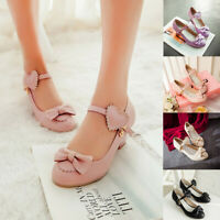 Women Bow Ankle Strap Princess Lolita Shoes Mid Heel Mary Jane Pumps Party Pumps
