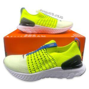 Nike React Phantom Run Flyknit 2 Volt Men's Size 9 White Yellow New DM7603-700