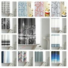 Modern Designer PEVA Bathroom Shower Curtain with 12 Hooks 180cm x 180cm