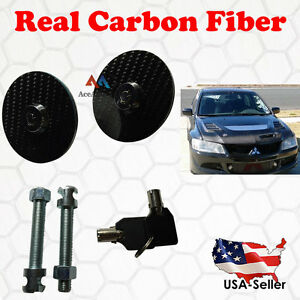 UNIVERSAL JDM Real Carbon Fiber Mount Bonnet Hood Pin Latch Locking Kit w/ Key