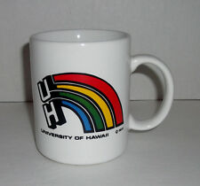 "VINTAGE 1980 UNIVERSITY OF HAWAII 3.50"" RAINBOW COFFEE CUP MUG"